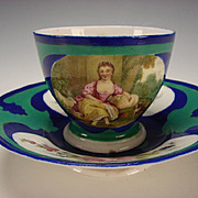 Antique 18c Sevres Style Paris Hand Painted Paris Porcelain Cup and Saucer