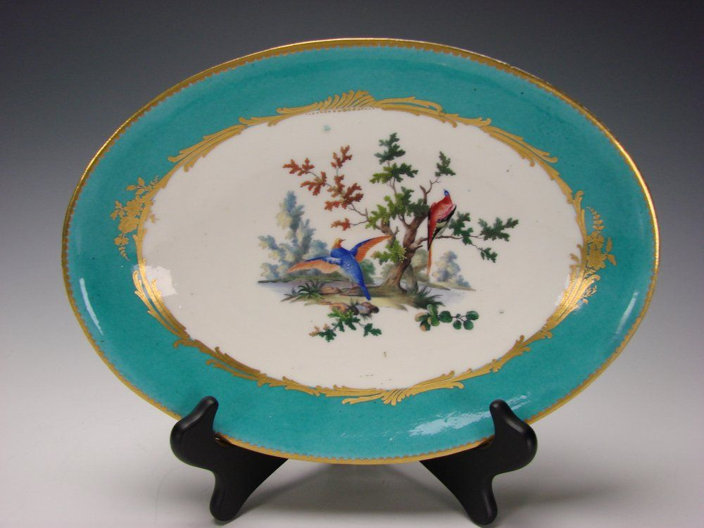 Antique French Old Paris Porcelain Blue Hand Painted Oval