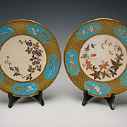 Fantastic Royal Worcester English China Aesthetic Enameled Hand Painted Porcelain Plates