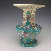 Antique French Oriental Enamel Eugene Collinot Pottery Vase c1870