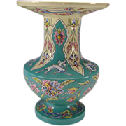 Antique French Oriental Enamel Eugene Collinot Pottery Vase c1870
