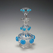 BEST Antique Baccarat 19c Blue Opaline on Crystal Glass Perfume Decanter Bottle
