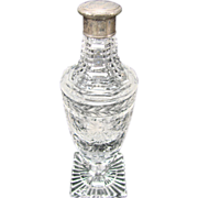 Great Cut Glass Brilliant Figural Sterling Lid Perfume Scent Bottle