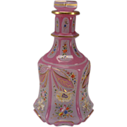 Fantastic Bohemian Lobmeyr Persian Cased Cut Pink Opaline Enamel Glass Bottle Decanter