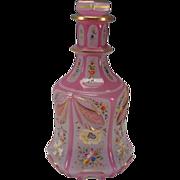 Fantastic Bohemian Lobmeyr Persian Cased Cut Pink Opaline Enamel Glass Bottle Decanter