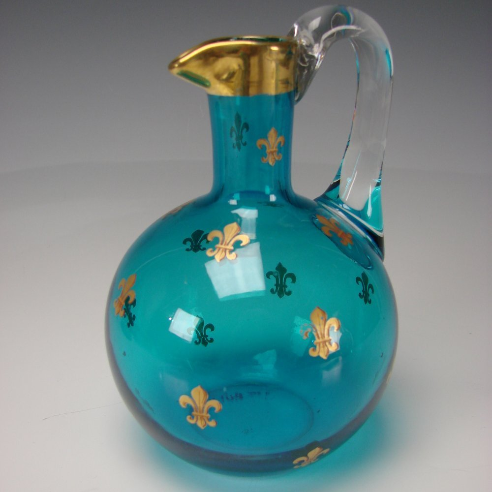 Antique French Baccarat Glass Pitcher Jug Gilt Blue c1900