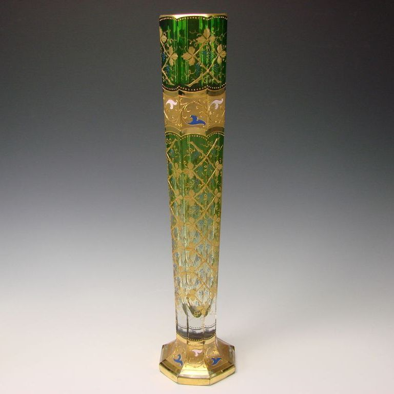 "RARE 20"" Moser Bohemian Enameled Raised Gilt Enamel Glass Vase"