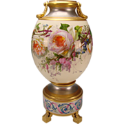 Antique Old Paris Porcelain Platinum Gilt French Vase Signed P Hartwig