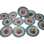 Antique French Hand Painted Porcelain Old Paris China Aesthetic Plate SET of 12