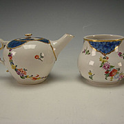 18c Ansbach Bruckberg German Porcelain Hand Painted Teapot & Sugar