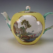 Fantastic 18c Meissen German Porcelain Hand Painted Bay Scene Teapot