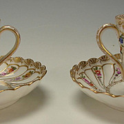 2 Antique Helena Wolfsohn Hand Painted and Gilt Cup and Saucer PAIR