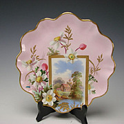 Aesthetic Victorian Brown Westhead and Moore Hand Painted China Scenic Plate 19c