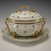 Antique c1840 Derby Blue Flowers Gilt Lion Paw Foot Soup Vegetable China Tureen