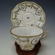 Antique Nymphenburg German Porcelain Cup and Saucer