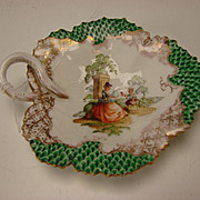 Antique Meissen Dresden Porcelain Hand Painted Leaf Form Candy Tray Plate 19c