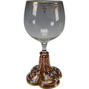 Antique Moser Bohemian Cranberry Lobed Enamel Wine Glass Stem