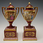 Antique Royal Vienna Porcelain Lidded Urns Vase Pair Hand Painted Portrait c1900