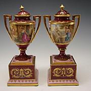 Antique Royal Vienna Porcelain Lidded Urns Vase Pair Hand Painted Portrait c1900
