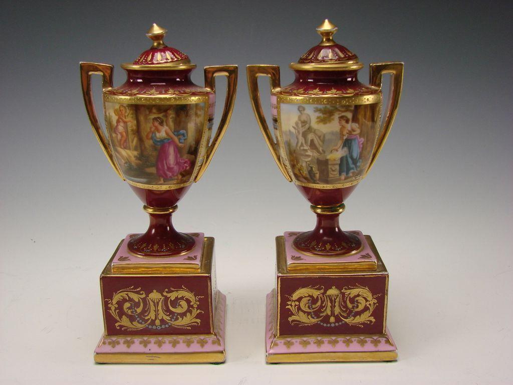Antique Royal Vienna Porcelain Lidded Urns Vase Pair Hand