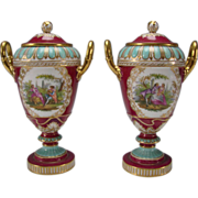 Antique Royal Vienna Hand Painted Enamel and Gilt Portrait Grouping Urn Lidded Vases