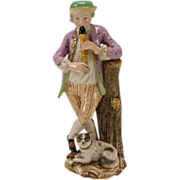Antique Meissen German Flutist Man and Dog 18c Porcelain Figurine Group