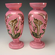 HUGE Antique Bohemian Pink Opaline Hand Painted Enamel Calla Lilies Pair c1865