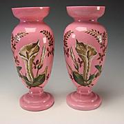 HUGE Antique Bohemian Pink Opaline Hand Painted Enamel Calla Lilies Pair c1865