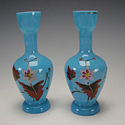 Antique Continental Bristol Opaque Opaline Blue Enamel Glass Vase Pair c1875