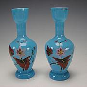Antique Continental Bristol Opaque Opaline Blue Enamel Glass Vase Pair c1875