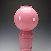 Antique 19c Bohemian Cased Pink Opaline Gone With the Wind GWTW Glass Oil Lantern