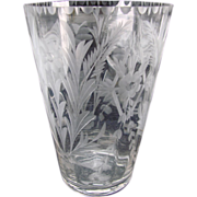 Vintage Elegant Fostoria Carved Engraved Cut Glass Vase