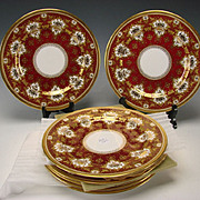Antique Copeland Gilt and Red c1900 Porcelain Dinner Plate Set