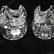 Antique Pair of Ribbed Organic Grotesque Austrian/Bohemian Glass Vases