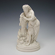 Antique English Parian Lady Cutting Sheath of Wheat Sculpture Figurine
