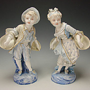 Antique Victorian French Vion and Baury Bisque Porcelain Child Statue Figures LARGE