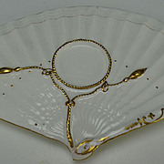 Antique Moore and Co English Porcelain Fan Shaped Gilt Rope Saucer Underplate