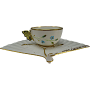 Antique Aesthetic Brown Westhead & Moore Co Porcelain China Butterfly Cup and Fan Saucer