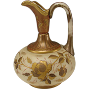 Antique Victorian Bohemian Harrach Gilt Glass Pitcher c1890