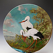 Antique Hand Painted Clement Massier Barbotine Pottery Charger Egrets