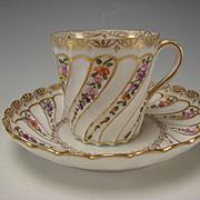 Antique Helena Wolfsohn Dresden German Porcelain Hand Painted Flowers Cup Saucer