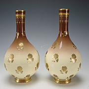 Antique Minton China Christopher Dresser Aesthetic English Porcelain Pair of Vases