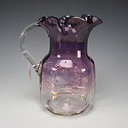 Victorian Hand Blown English or American Amethyst Stained Enamel Pitcher
