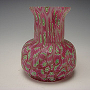 Vintage Fratelli Toso Murano Millefiori Caned Glass Vase
