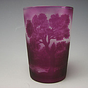 Antique French Cameo Glass Tumbler Amethyst Purple Landscape Signed H. Castets
