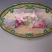 Antique Paul Milet Sevres French Enamel Hand Painted Lovers Portrait Jewelry Trinket Box