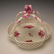 Antique KPM German Porcelain Reticulated China Bowl Basket Bow Top