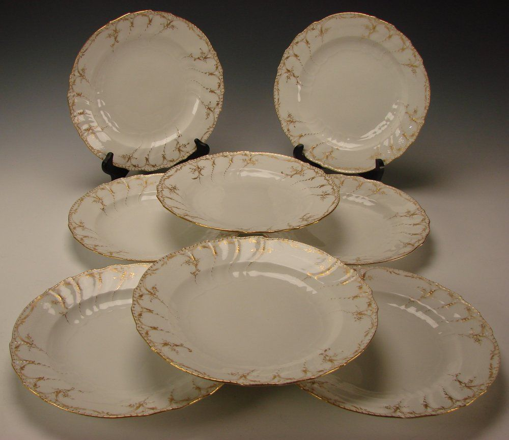 Art Nouveau KPM Berlin Porcelain Hand Painted Gilt Plates Set of 8