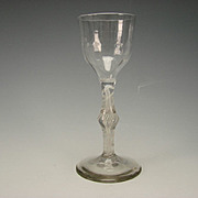 Antique 18c English Cotton Air Twist with Ribbed Bowl and Bubble Knop Wine Glass Stem