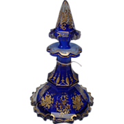 Antique North Bohemian Gothic Cut Panel Hand Painted Enamel Gilt Perfume Scent Bottle